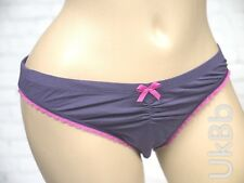 M&S Purple Pink Ruched Lace Stretch Briefs Knickers Size 18 Cotton Modal Blend