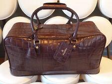 BROOKS BROTHERS Brown Crocodile Pattern Imprinted Leather Duffle Bag NWOT