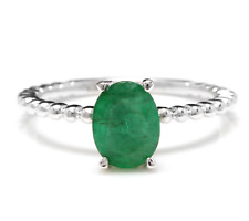 1.20 Carats Natural Emerald 14K Solid White Gold Ring
