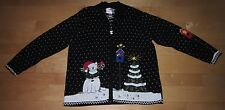 Quacker Factory Wms Cute Winter Scene Cardigan Sweater L