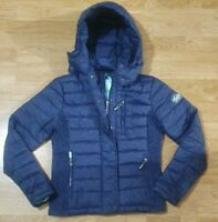 Superdry Jacket Quilted Coat Hooded Lightweight Ladies Blue Size M - UK 12 EU 40