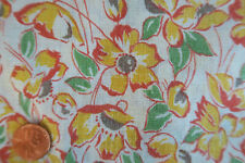 ONE VINTAGE FEEDSACK Black Eyed Susan YELLOW  FLOWERS  37x45  PRISTINE