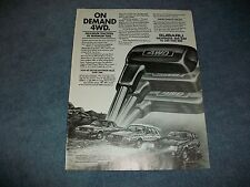 "1983 Subaru Brat Wagon Hatchback Vintage Ad ""On Demand 4WD"""