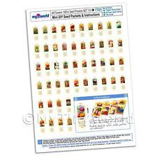 Dolls House Miniature Flower Seed Packet Set 1 A4 Value Sheet