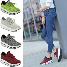 Women Mesh Jogging Walking Breathable Wedge Sneakers Creeper Shoes Lace Up Size