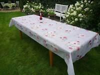 Tischdecke Provence 150x350 cm grau Rosenmotiv aus Frankreich, bügelfrei