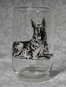 VTG German Shepherd Dog Black & White Fired on Image Drink Glass Tumbler 1940s