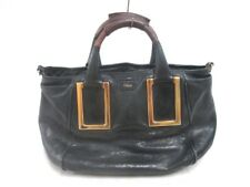 Auth Chloe Ethel Black Brown Leather Handbag