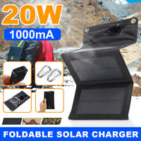 20W Folding Solar Panel Power Bank USB Battery Charger 3 in 1 Cable For  T .