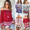 Women Boho Off Shoulder Blouse Frill Beach Casual Tee Strapless T-Shirt Pullover