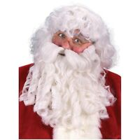 Deluxe Santa Claus Wig & Beard Set & Eyebrows White Costume Adult Christmas
