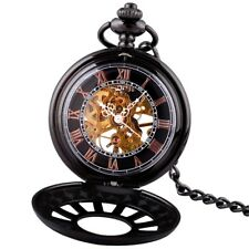 Pocket Watch Gift Chain Retro Black Steampunk Antique Mechanical Skeleton Men's