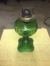 VTG GREEN DEPRESSION GLASS BULLSEYE OIL LAMP