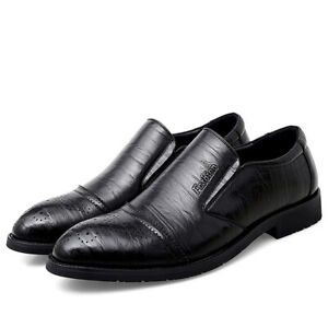 Mens Faux Leather Formal Pointed Toe Loafers Business Casual Office Party Shoes