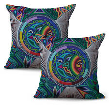 Us Seller- set of 2 Mexican Huichol Indian art print cushion cover decorative