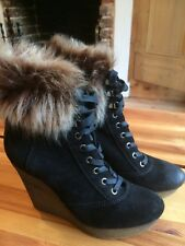 Bertie Wedge Boots Faux Fur Black Suede 39/6 Lace Up