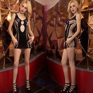 Sexy Lingerie Mini Dress Stretch Net Fishnet Side Open Universal XS/M/L