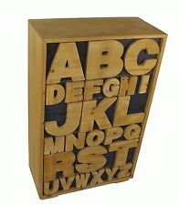 Shabby Chic Quirky Wooden Alphabet Cabinet Chest of Trinket Storage Drawers