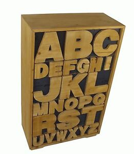 Alphabet Cabinet Wooden Chest of Trinket Storage Drawers Shabby Chic Cupboard