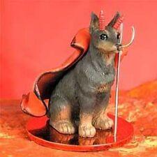 Doberman Cropped Ears Red Dog Devil Tiny Figurine Statue