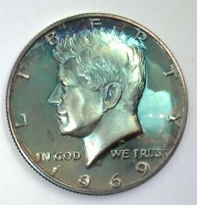 1969-S KENNEDY SILVER 50 CENTS PERFECT PROOF DCAM INCREDIBLE TONING!!