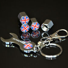 Car British Flag Wheel Tire Valves Air Cap Cover Stem Wrench Key Chain For BMW