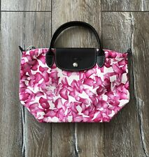 Longchamp Le Pliage Tote Bag Darshan Flowers Pink Rose Rare AUTH