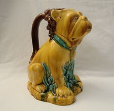 Large QuirkyAntique French? Majolica Wine/ CiderJug of a Bulldog/Lion