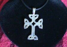 Celtic Knotwork Cross Pewter Pendant Necklace! New Made in USA Irish Scottish