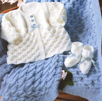 "Baby Matinee Coat Shawl & Bootees  DK 14 - 20"" Knitting Pattern"