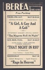 1947 BEREA THEATRE SHOWING A GIRL A GUY & A GOB W/L BALL G MURPHY, BEREA OH ETC