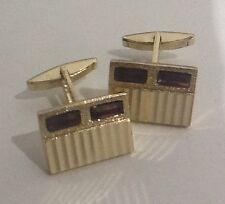 Vintage Brass Gilt Chunky Retro Cufflinks With Purple Glass Stones