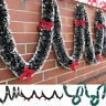 "79"" Chunky Xmas Bowknot Garland Wall Door Christmas Tree Hanging Room Ornaments"
