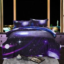 Galaxy 3D Printing Never Fade Quilt Outer Space Comforter Sets With 2 Matching