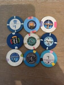 9 Verschiedene Poker-Chips 1$ Vegas - Luxor, Bellagio Etc