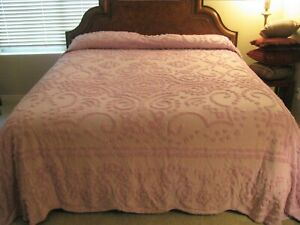 Chenille Bedspread King Lavender/Pink Beautiful 100% cotton