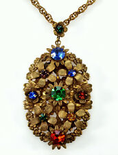 Brass Bright Pastes Lavalier Necklac Antique Austro Hungarian Guilded Filigree