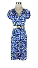 LEONA EDMISTON Dress - Geometric Swirl Wrap Pleat Ruffle Blue White Tie Belt - 8