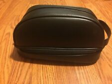 NEW! Men's Dockers Top & Bottom Zip Travel Bag Toiletry Bag Vanity Black Leather