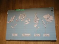 NEXT  POWDER BLUE Country Floral cornflower Canvas  Wallart Picture Embroidered