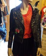 veste perfecto noire avec rose brodée taille L