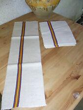 Lot 6 ANCIENS TORCHONS CHANVRE liteau rouge/vert/bleu/jaune  / 6  HEMP CLOTH