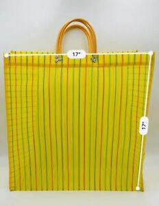 """2 Mexican Market Mesh Bag Rausable Tote Bolsa De Mercado Large 17"""" Yellow"""