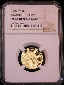 1986 W Gold $5 Statue of Liberty NGC PF69 Ultra Cameo almost 1/4 oz. PQ #G676
