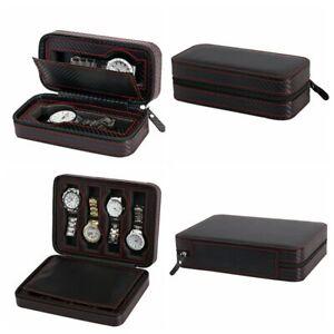 2 4 8 Slot / Grid Watch Box Carbon Fiber Leather Zipper Portable Display Holder