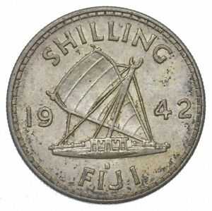SILVER Roughly the Size of a Quarter 1942 Fiji 1 Shilling World Silver Coin *185