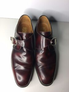 Cheaney Burgundy Monk Strap Loafers Shoes Men's Sz 10.5 Handcrafted In England