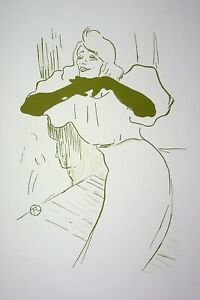 TOULOUSE LAUTREC :  Yvette Guilbert en harmonie - LITHOGRAPHIE signée, 1950