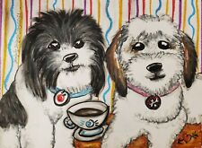 Zuchon Drinking Coffee Dog Art Print 5 x 7 Shichon Mixed Breed