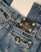 Miss Me Embellished Bling Denim Boot Cut Blue Jeans Size 26×31